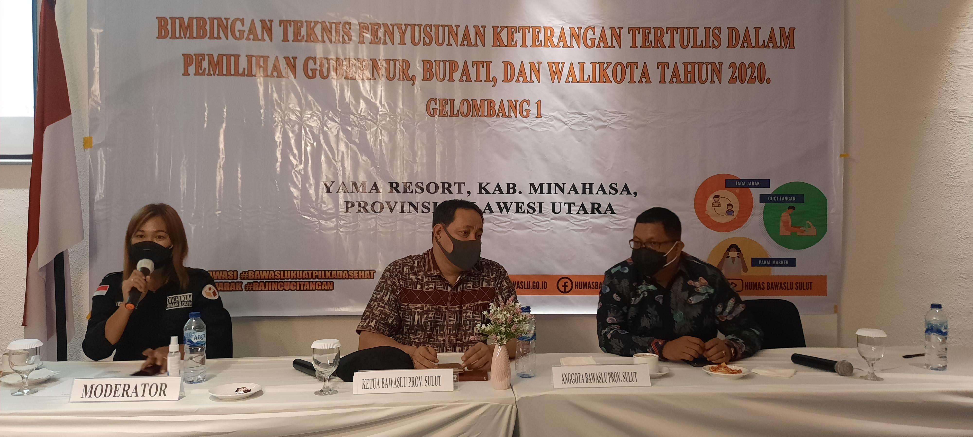 Bawaslu Provinsi Sulawesi Utara menggelar Bimbingan Teknis Penyusunan Keterangan Tertulis Dalam Pemilihan Gubernur, Bupati, dan Walikota Tahun 2020
